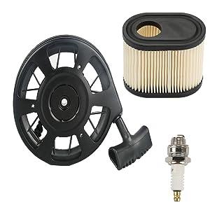 FanzKo 590739 Recoil starter+Air Filter+Spark Plug for toro lawn mower parts Tecumseh AV600 LEV80 LEV100 LEV115 LEV120 LEV150 LV195EA 590702 590637 Lawn Boy Lawnmower