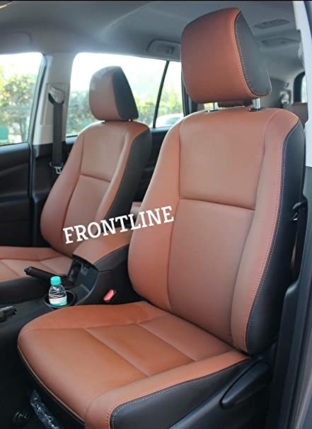 Toyota Seat Covers >> 3d Frontline Pu Leather Car Seat Cover For Toyota Innova Crysta Tan