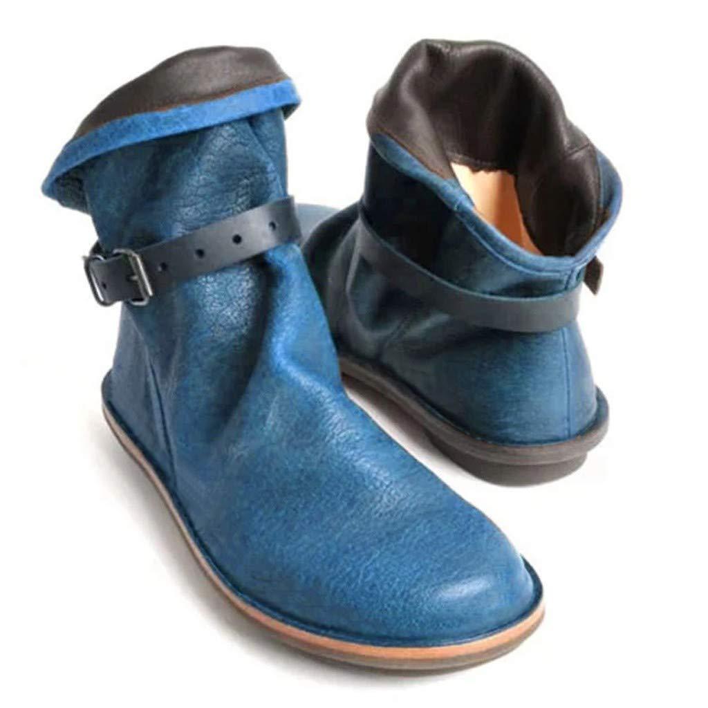 Xinantime Botas De Nieve De Invierno Para Mujer Botines De Cuero De Primavera De Tallas Grandes Zapatos Planos Botas Cortas Botas De Punta Redonda Botin Solido De Tobillo Zapatos Calidos De Vaquero