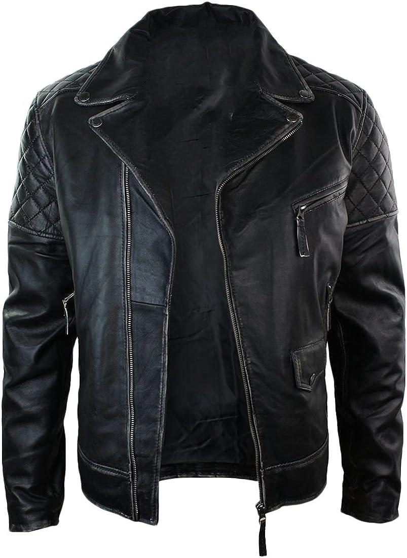 Kingdom Leather Men Leather Jacket New Soft Cow Leather Slim Biker Bomber Coat XC1308