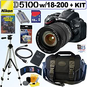 Nikon D5100 16.2MP CMOS Digital SLR Camera with Sigma AF 18-200mm f/3.5-6.3 DC HSM OS (Optical Stabilizer) Zoom Lens + EN-EL14 Battery + 16GB Deluxe Accessory Kit