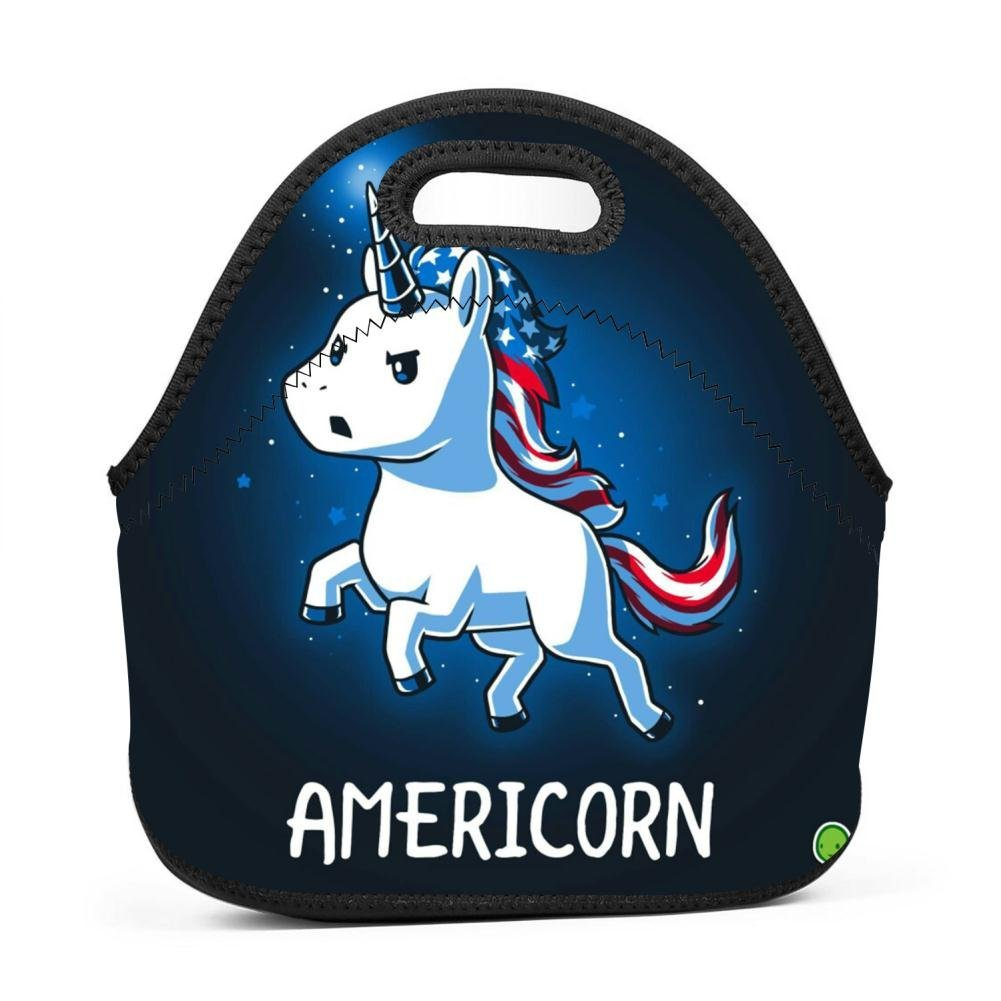 America Unicorn Lunch Bag Waterproof Tote Bag with Zipper for Kids, Students and Adults by 4LunchBag