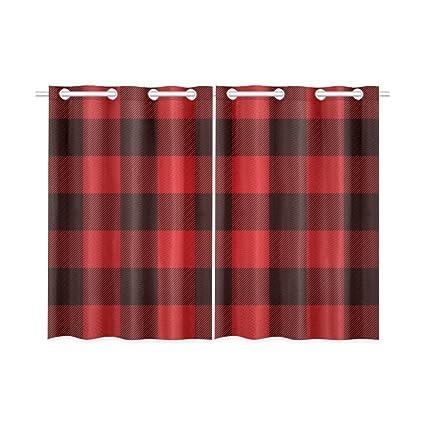 Amazoncom Blackout Window Curtains Red Buffalo Check Lumberjack