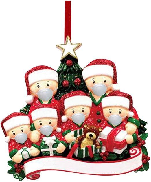 Whear Adornos de Navidad cuarentena para decoración de fiestas de Navidad,  producto personalizado de 1 a 7 miembros de la familia, superviviente en  cuarentena 2020, juego de decoración de Navidad personalizado:  Amazon.com.mx: