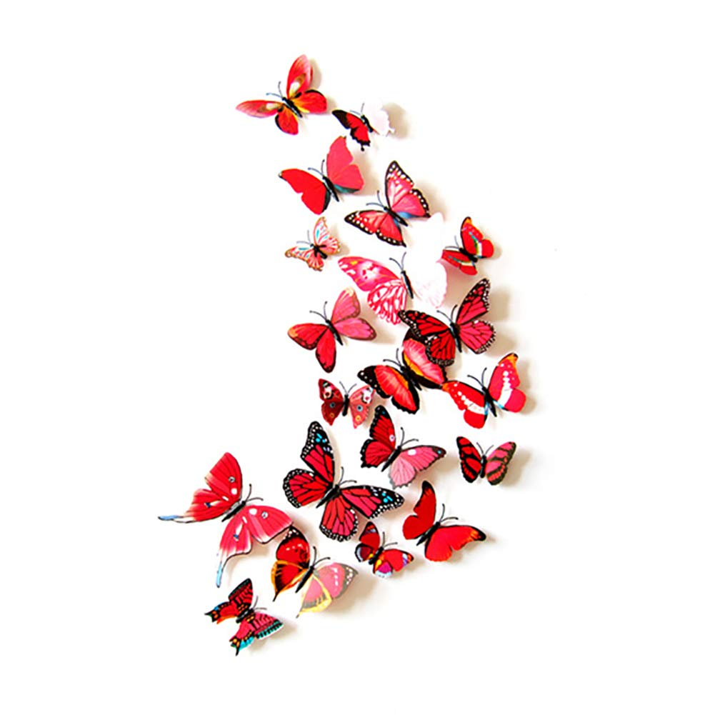 JYPHM 24PCS Butterfly Wall Decal Removable Refrigerator Magnets Mural Stickers 3D Wall Stickers for Kids Home Room Nursery Decoration Wall Art Red