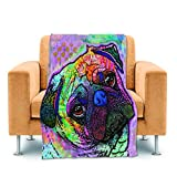 CafeTime Lovely Pet Dog Pug Home Throw Blankets Cute Animal Bed Sofa Couch Blanket Fleece Soft Warm Kid Baby Blankets Cozy Plush Blankets For Air Conditioning 30''x40''