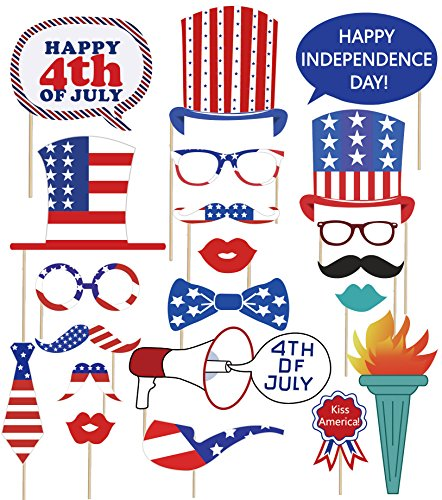 (90shine Fourth/4th of July Photo Booth Decorations - Patriotic Props Party Supplies Red White Blue Decor(37 PCS) )