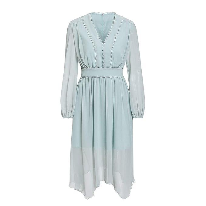 Tuyhnm Mint Green Dress Women Long Sleeve Chiffon Casual ...