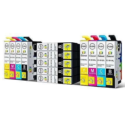 Colorwd Reemplazo Epson 18XL Cartuchos de Tinta de Alto Rendimiento T1811 T1812 T1813 T1814 4 colores compatible para Epson XP-30 XP-33 XP-102 XP-202 ...