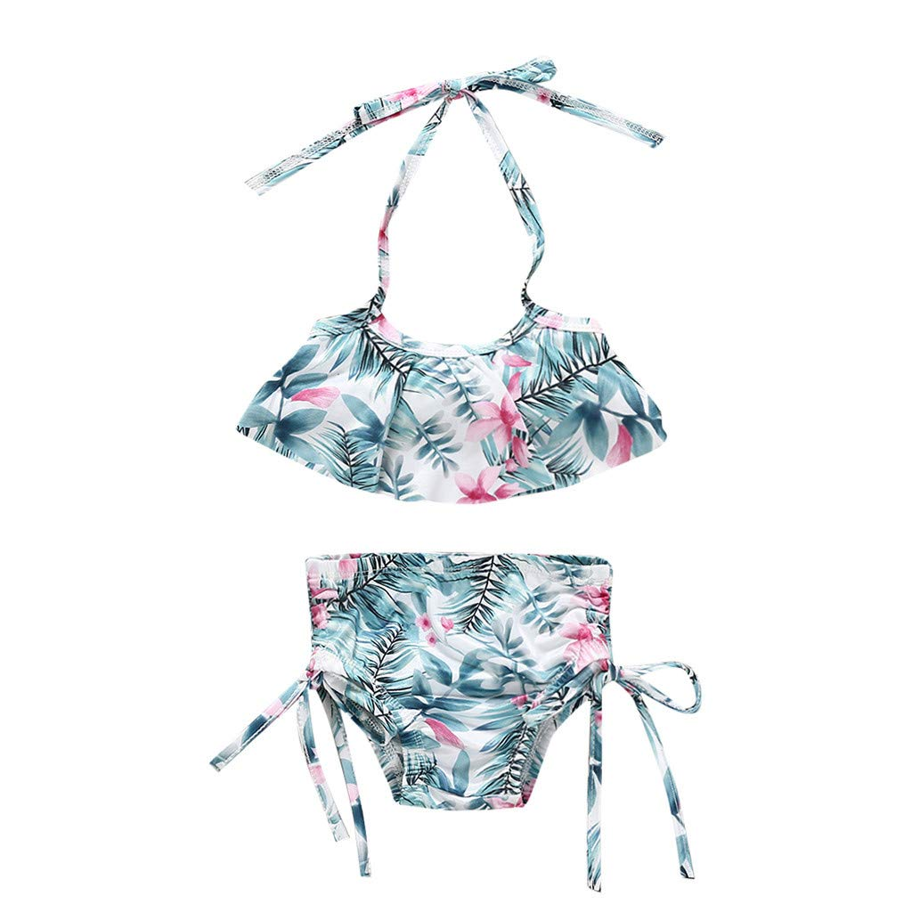 POIUDE Swimsuit Girl 2Pc Floral Baby Girl Swimsuit Bikini Set Clothes Outfit 1-5 Years
