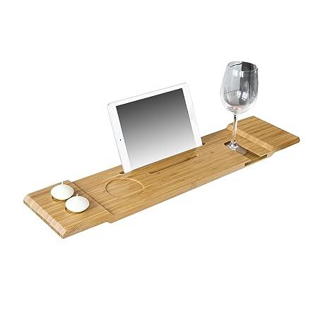 SoBuy® FRG104-N, Bamboo Bathtub Rack, Bath Tub Shelf Tray with iPad ...