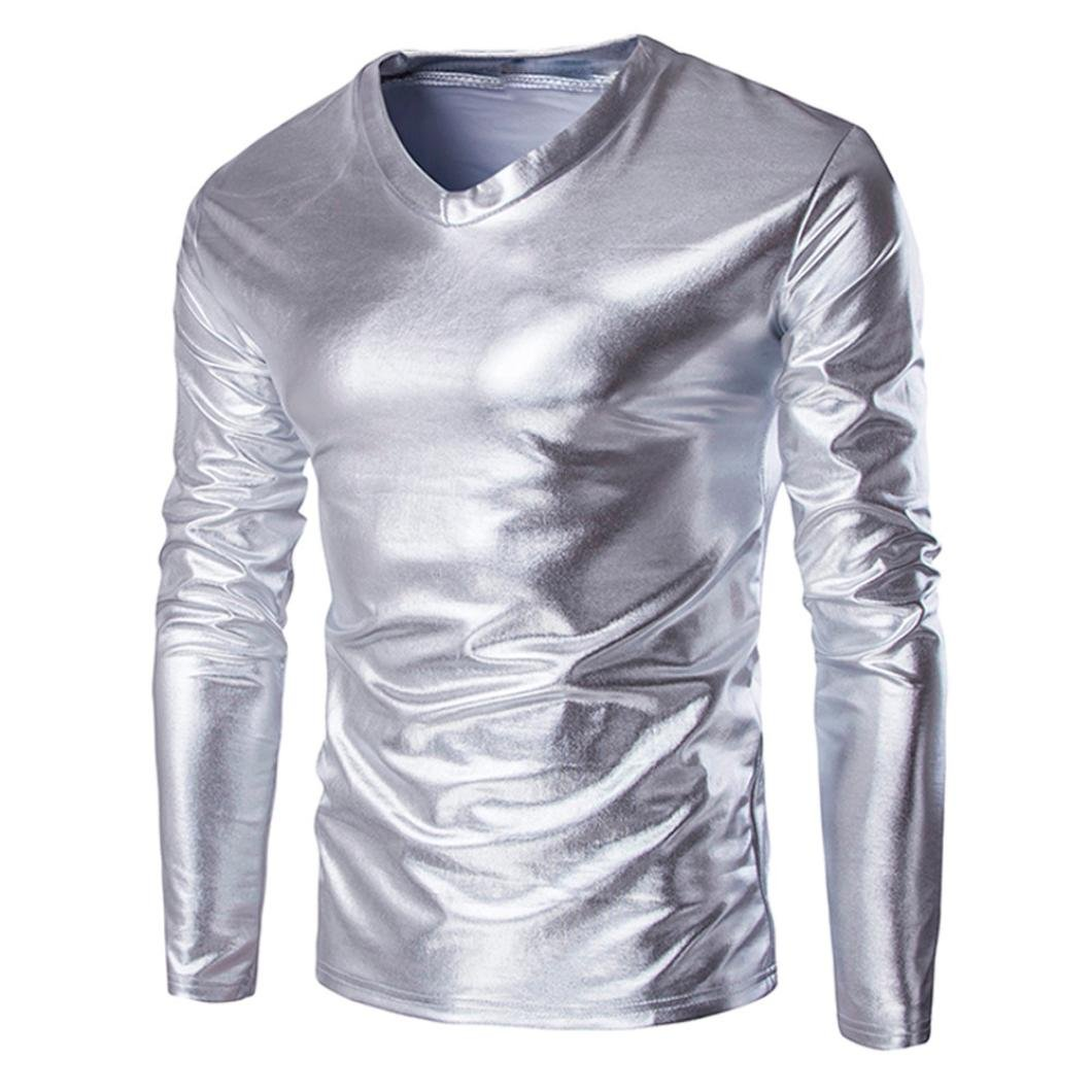 37802ce9b5a Longay Men s Metallic Shiny Shirt Plus Size Blouse Slim Fit Long Sleeve V  Neck Top Pullover