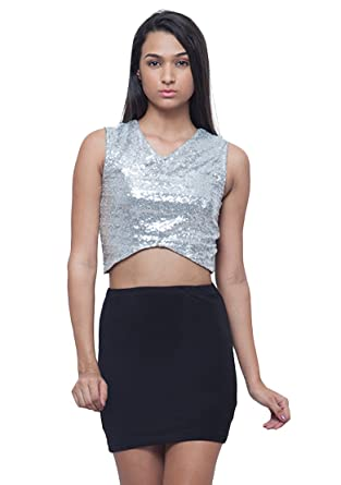 ac0e27c7c35d5 FabAlley Women s Crossways Sequin Crop Round Neck Sleeveless Party Top XL  Silver