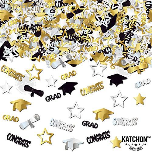 CONFETTI FOR GRADUATION PARTY SUPPLIES - 1.4 oz | Perfect Graduation Decoration for Grad Party | Graduation Confetti are of CONGRATS, GRAD, STAR, CAP, DIPLOMA | Gold, Black and Silver Mix Color