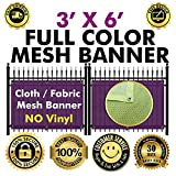 Full color Mesh Fabric Banner sign With Grommets | whether proof | Free Design | Custom Sizes Available (3' X 6')