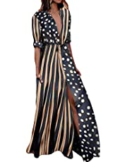 Casual Maxi Dress for Women,Rainbow Button Down Roll up Sleeve Long Dress,Stripes Print Loose Long Maxi Dresses with Pockets