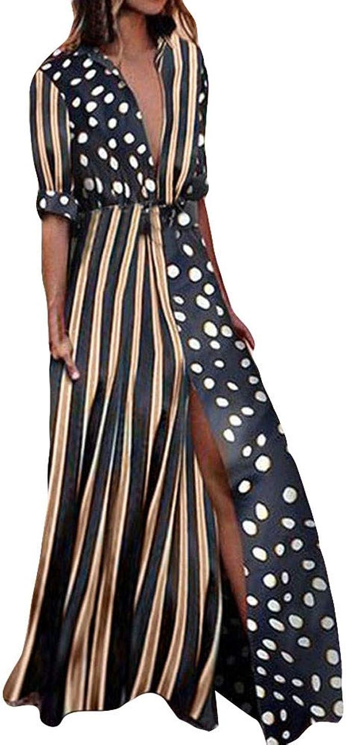 SHOBDW Damen Lässig Trendigen Exquisit Boho Stil Halbe Ärmel Bündel Taille  Welle Punkt Streifen Drucken Maxikleider Mode Frauen Casual Abend Party