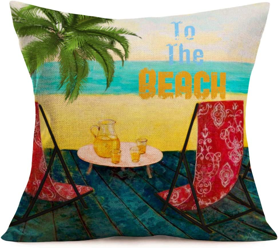Amazon Com Easternproject Tropical Summer Palm Tree Throw Pillow Covers 18x18 Inch To The Beach Red Floral Printed Chair With Tea Time Pillow Cases Cushion Cover Cotton Linen Home Holiday Decor Pillowcase Home
