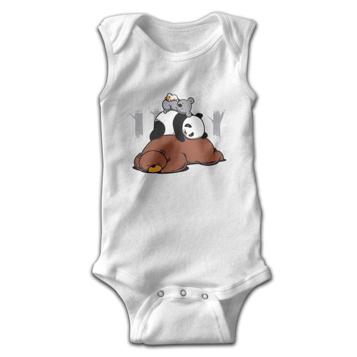 Bear Panda Koala Newborn Crawling Suit Sleeveless Romper Bodysuit Onesies Jumpsuit Black