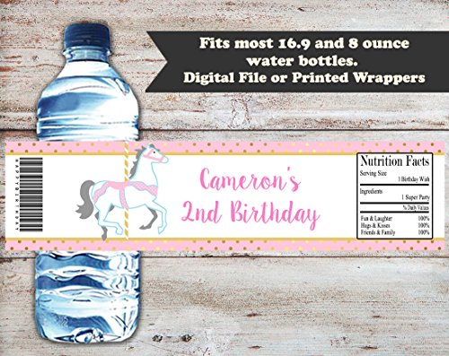 Carousel Personalized Birthday or Baby Shower Water Bottle Wrappers, Set of 10 Party Favors, Water Bottle Labels, ()