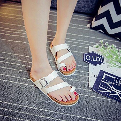 Femme pour Homme Tongs Sandales Plage Liège Confort Unisexe Chaussures Blanc Pantoufles Adulte de d'été Boucle Simple yAUAw0q8Y