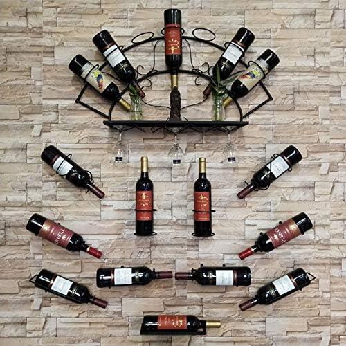 Iron Wall Mounted Wine Bottle Rack Holder Display Shelf Kitchen Bar Exhibition