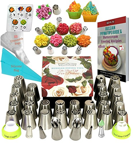 Russian Piping Tips Set DELUXE Flower Frosting Tips 33 Icing Piping Tips for Cake Decorating Supplies Baking Supplies Set Ball Piping Tips +30 Frosting Bags Large Russian tips Cupcake Decorating Kit