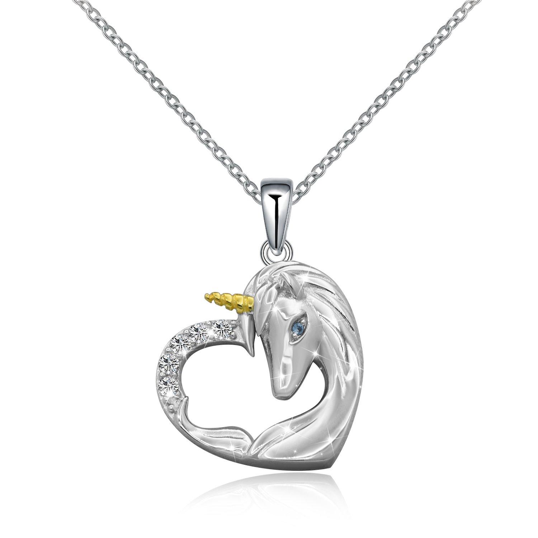 ACJNA 925 Sterling Silver Unicorn Pendant Necklace Gifts Girls Women B07CV939MC_US