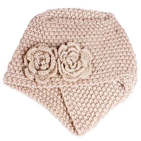 Ssowun Nuovo Berretto turbante a maglia di lana a maglia fiori ... 8d280ce9ef35