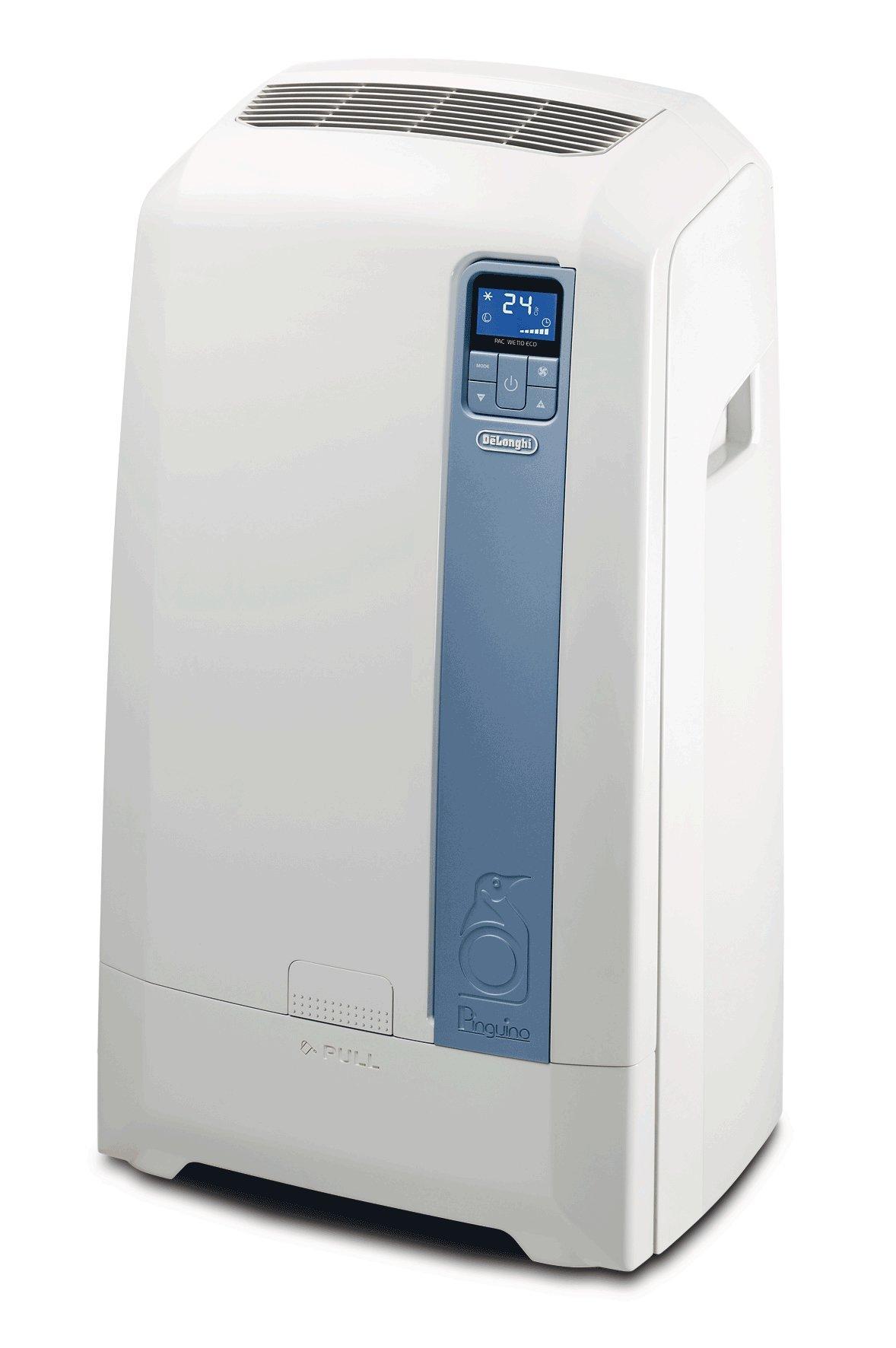 De'Longhi PAC WE112 Eco Mobiles Klimagerät (Klimaanlage, Wasser-Luft-Technologie, Max. Kühlleistung 3,0 kW/11.500 BTU/h, Separate Entfeuchtungsfunktion, Geeignet für Räume bis zu 100 m³) [Energieklasse EEK A+] product image