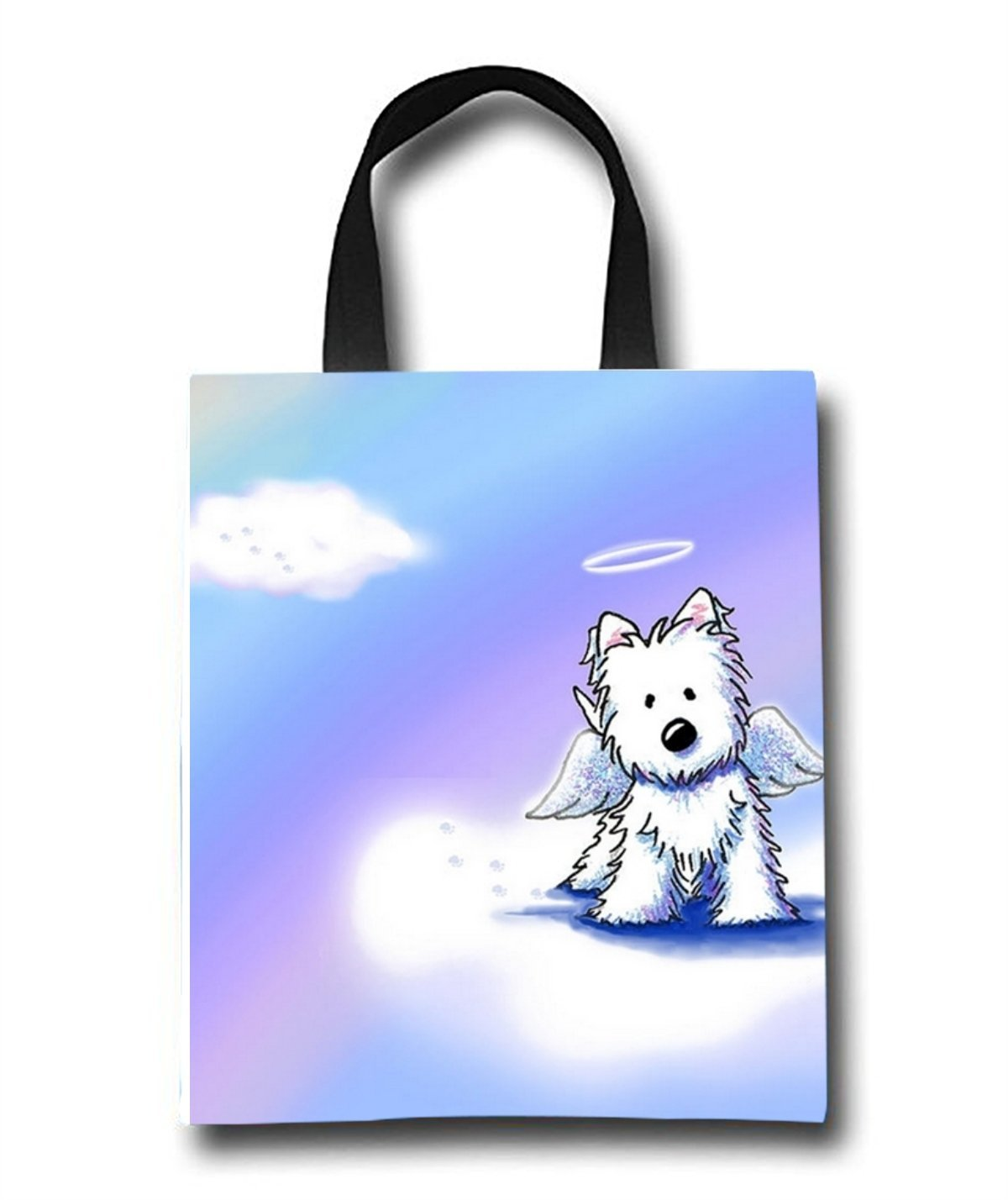 Angel Dog Beach Tote Bag - Toy Tote Bag - Large Lightweight Market, Grocery & Picnic