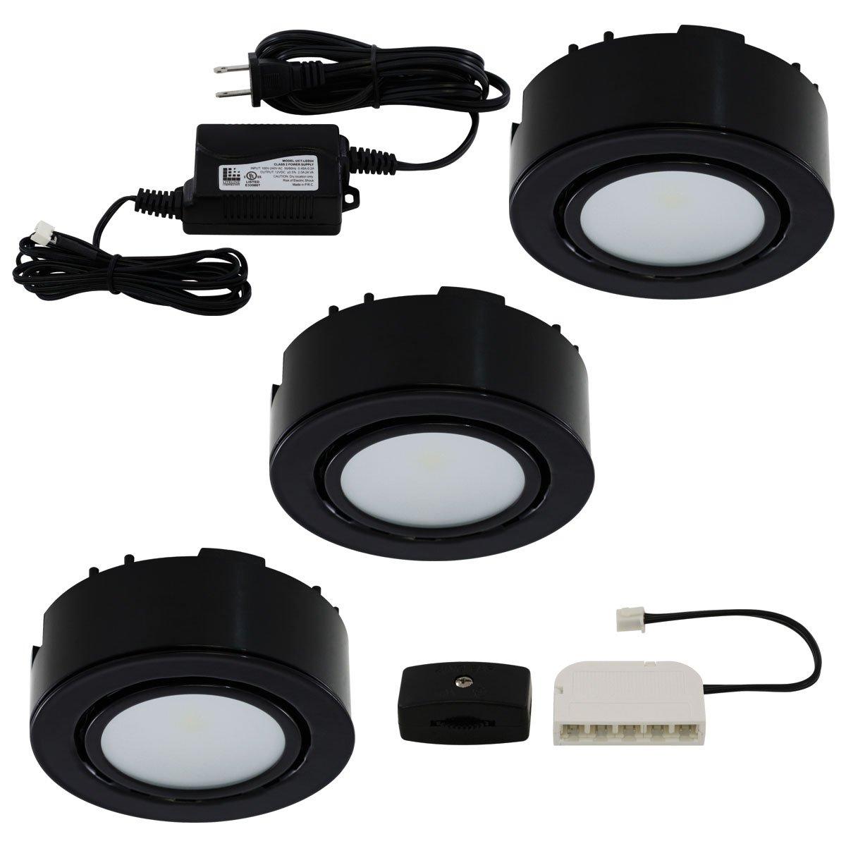 Liteline UCP-LED3-BK LED Three-Light Puck Kit, 12V, Black