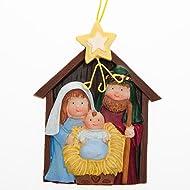 "ONE DOZEN (12) Resin NATIVITY Ornaments/3.5"" CHRISTMAS Tree Decoration/HOLY Family/Jesus, Mary & Joseph/SCENE/Religious Education/BIBLE SCHOOL/VBS/Christian/GIFTS"