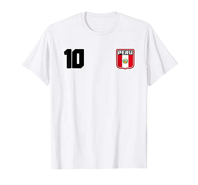 Mens Peru T-shirt Peruvian Flag Soccer Futbol Fan Jersey 2XL White