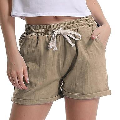 82a396ce8b Summer Shorts Women Elastic Waist Hot Pants Casual Comfy Cotton Linen Beach  Shorts (S,