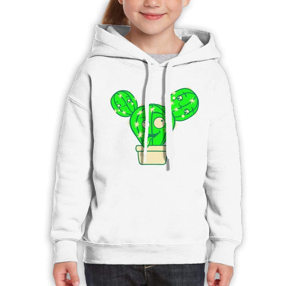 Qiop Nee Funny Crazy Cactus Face Childrens Hoodies Print Long Sleeve Sweatshirt Girls'