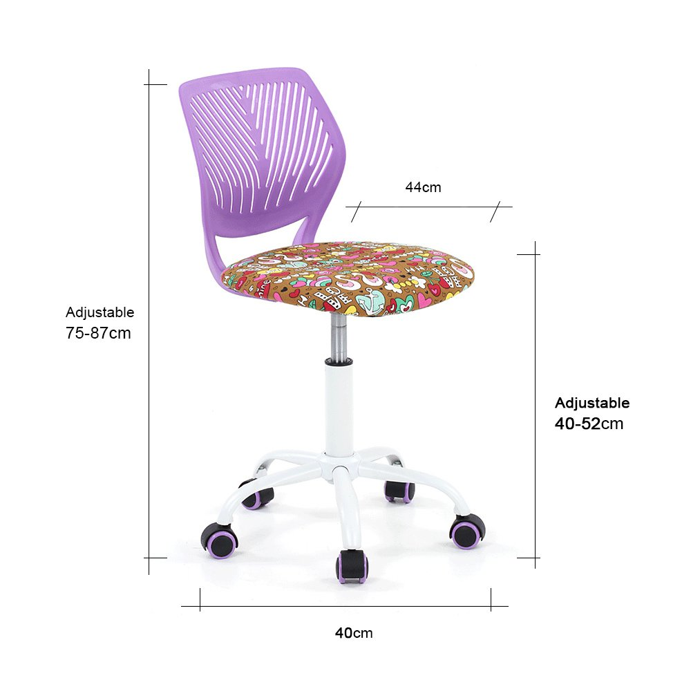 Fabulous Ikayaa Adjustable Fabric Teen Child Desk Chair Swivel Computer Task Chair Purple Cjindustries Chair Design For Home Cjindustriesco