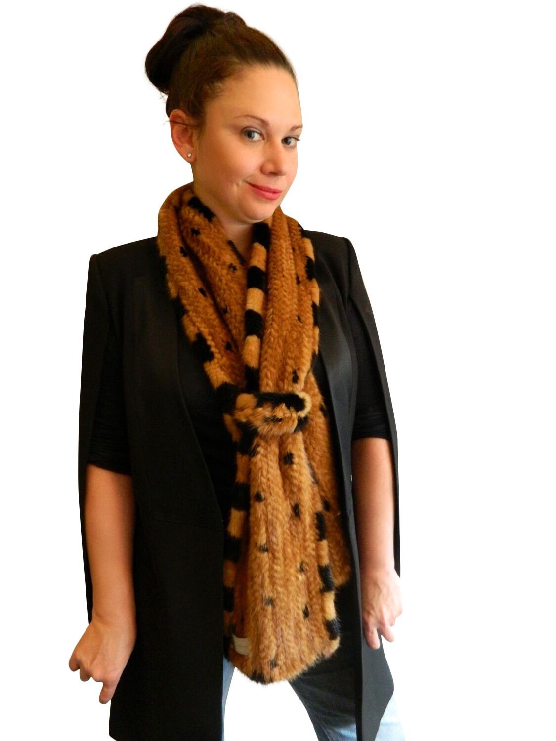 Top Gold Knitted Mink Muffler w/Ranch Dotted Mink