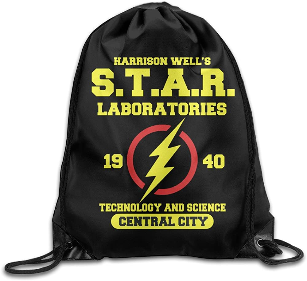 Superhero Movie The-Flash-in-Star-Labs Drawstring Backpack Bag White