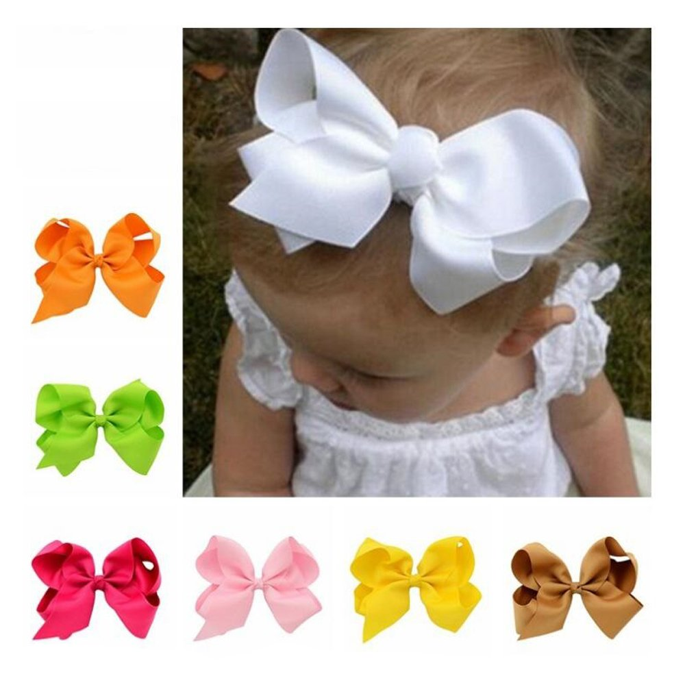 Baby Girls Hair Bows 6'' Large With Alligator Clips Grosgrain Ribbon 20 Pcs Different Color Mixed