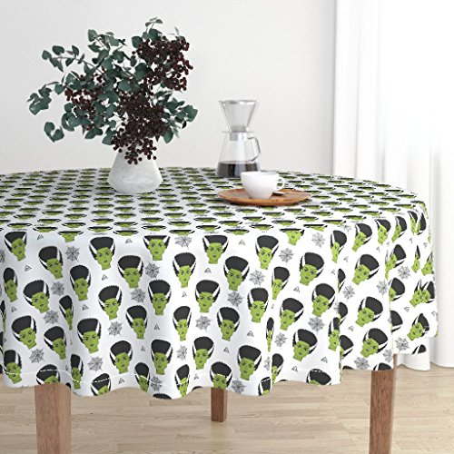 Roostery Round Tablecloth - Frankenstein Movie Halloween Halloween Fabric Bride of Frankenstein Horror Movie by Andrea Lauren - Cotton Sateen Tablecloth 90in -