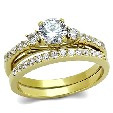 06 Carat Round Cut CZ Womens Gold IP Stainless Steel Engagement Ring Set Size 5