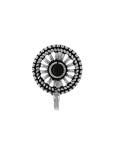 c4ddce52072 Amazon.com  Anuradha Art Silver Finish Round Shape With Black Colour Stone Wonderful  Clip-On Nose Ring Pin For Women Girls  Jewelry