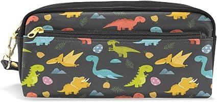 Estuche para lápices, diseño de dinosaurios coloridos de dibujos animados, bolsa de viaje pequeña para maquillaje, impermeable, 2 compartimentos, el mejor regalo para niños, niñas y niños: Amazon.es: Oficina y papelería
