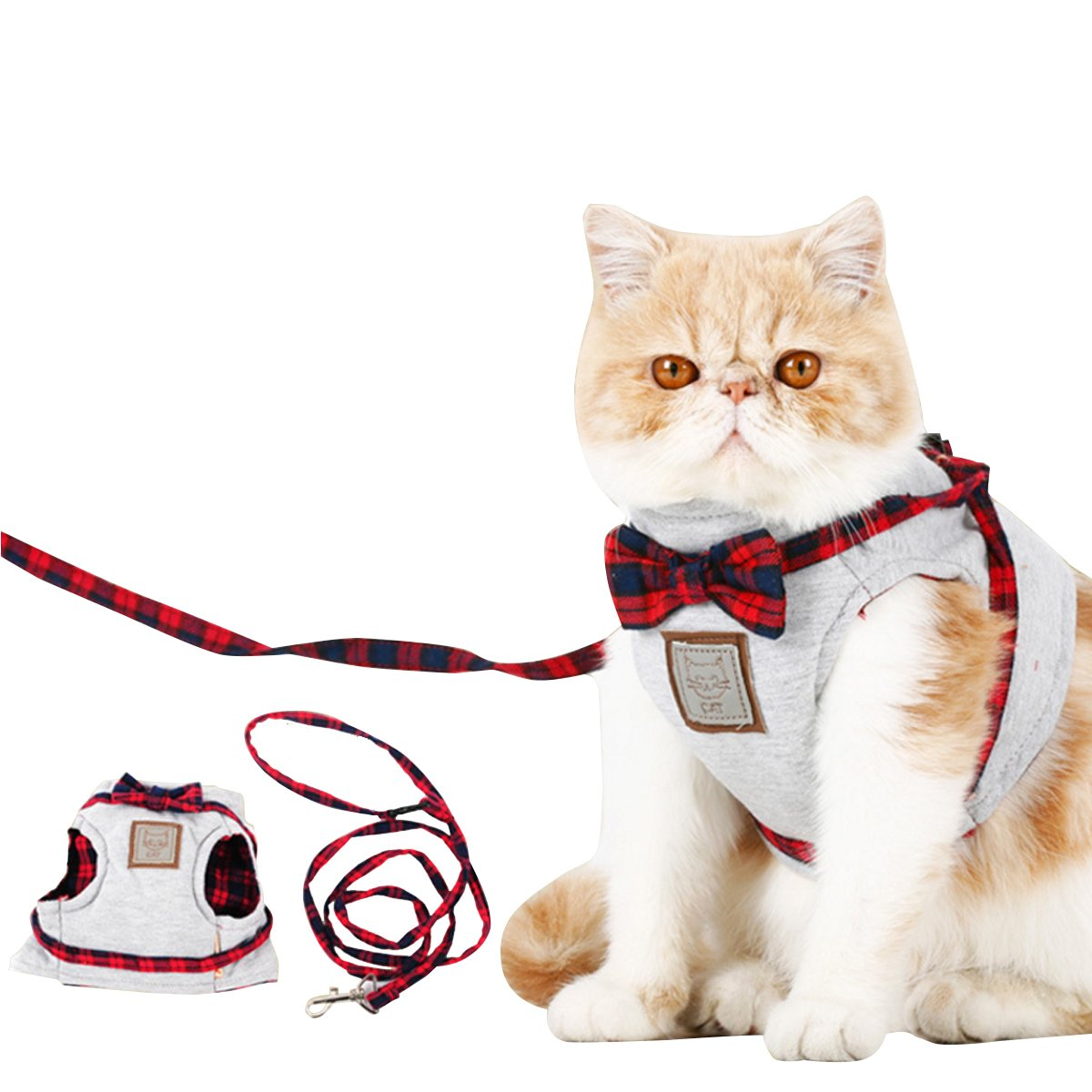 Cat Puppy Leash,Ezeso Adjustable Body Harness Pet Cat Leash For Cat Walking ,Running (M, Gray)