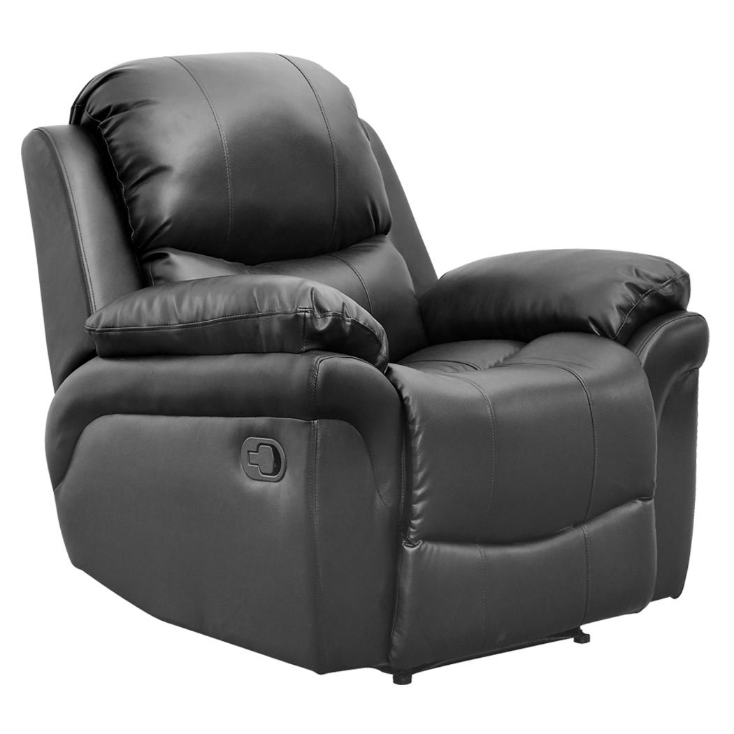 MADISON BONDED LEATHER RECLINER ARMCHAIR SOFA HOME LOUNGE CHAIR RECLINING GAMING (Black) More4Homes FUR-RCH-MADISON-ALL