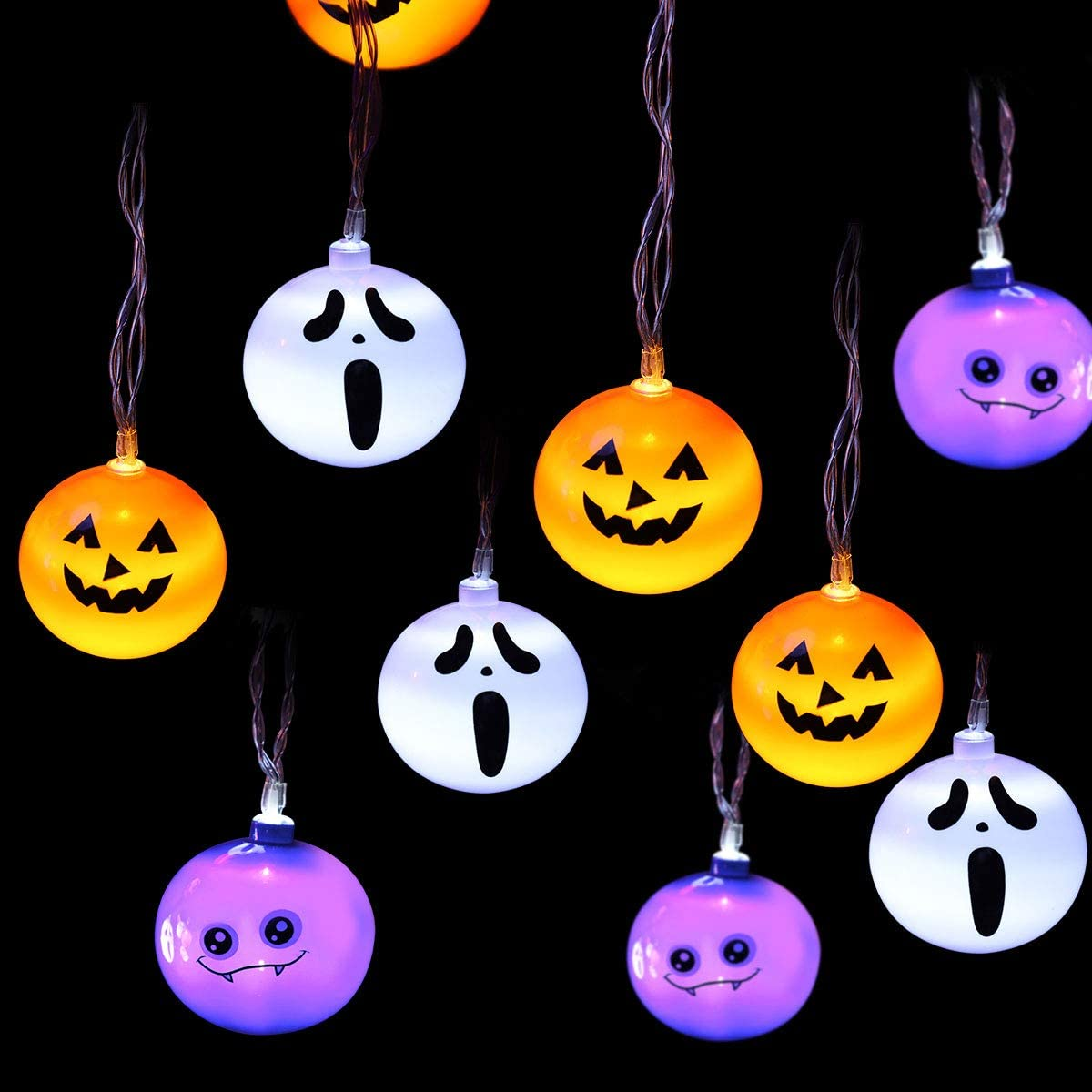 MAOYUE Halloween Lights Outdoor 9.84ft 21 LED Halloween String Lights Pumpkin Ghost Bat Halloween Lights Battery Powered Waterproof Halloween Lights 8 Modes for Halloween Decorations Outdoor, Indoor