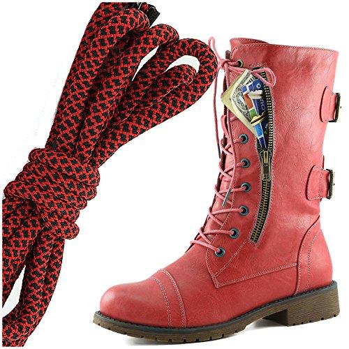 Dailyshoes Donna Militare Allacciatura Fibbia Da Combattimento Stivali Metà Ginocchio Alta Tasca Esclusiva Per Carte Di Credito, Rosso Nero Elegante Rosso