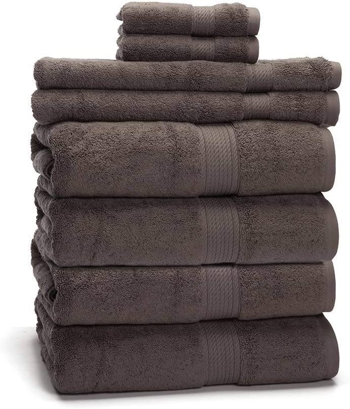 "900 GSM 100% Egyptian Cotton 8-Piece Towel Set - Premium Hotel Quality Towel Sets - Heavy Weight & Absorbent - 4 Bath Towels 30"" x 55"", 2 Hand Towels 20"" x 30"", 2 Washcloths 13"" x 13"" Charcoal"