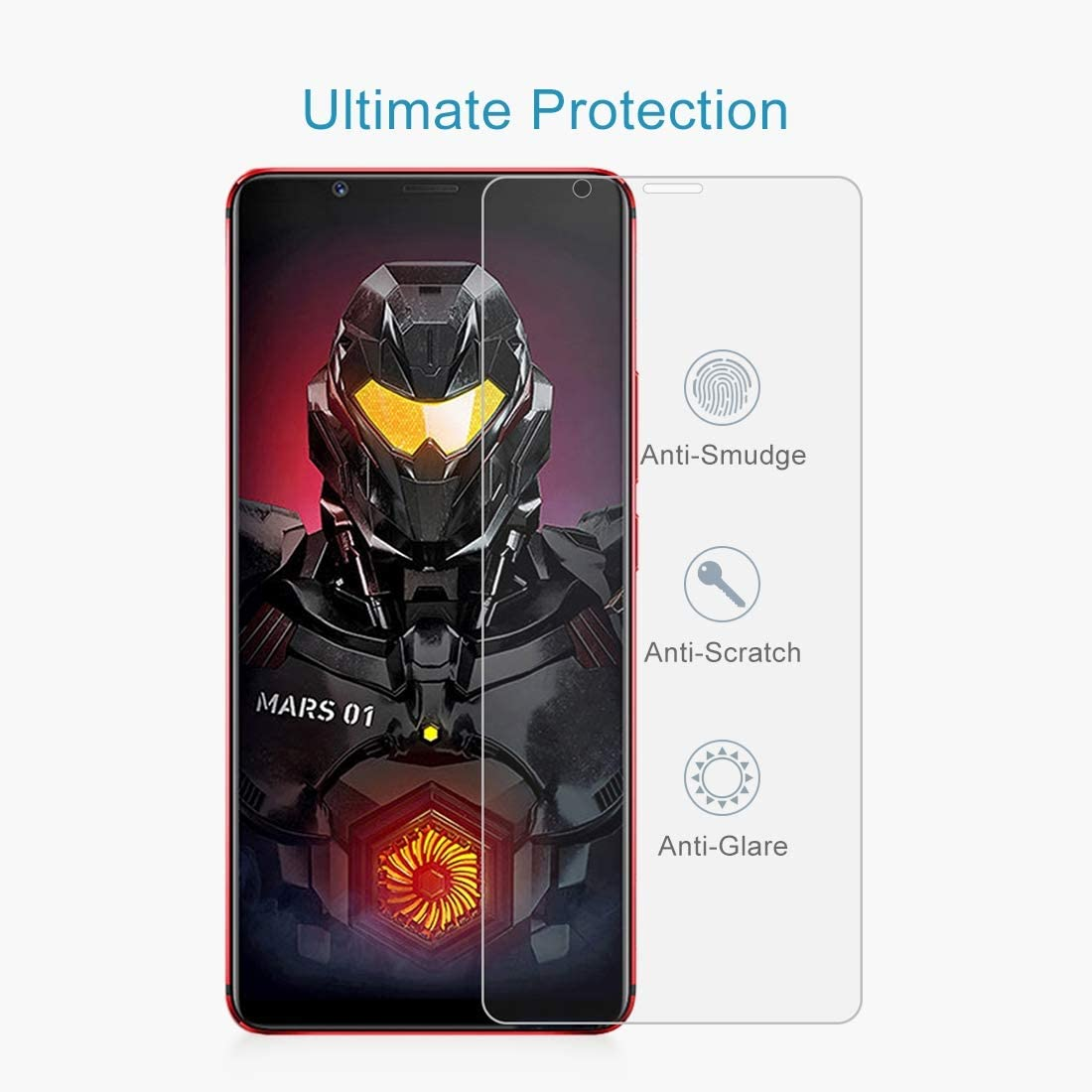 YINZHI Screen Protector Film 100 PCS 0.26mm 9H 2.5D Explosion-Proof Tempered Glass Film for ZTE Nubia Red Magic Mars Clear